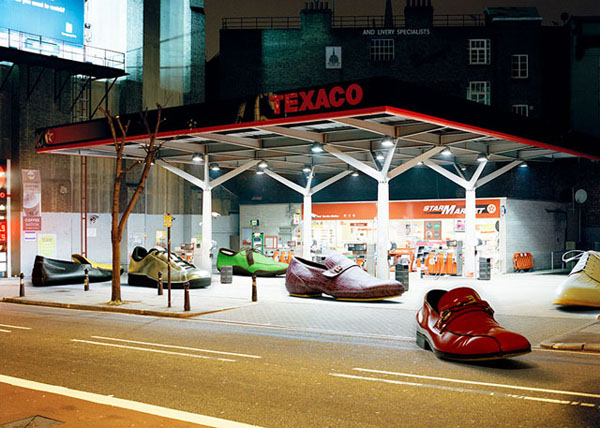 Photograph of shoes refueling at Texaco.
