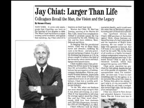 Image of magazine/print article about Jay Chiat.
