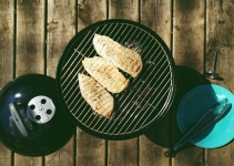Photograph of chicken grilled on a Weber Smokey Joe Silver.