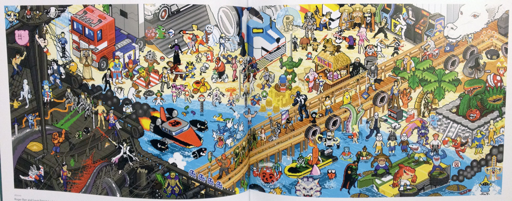 Photograph of the 8-bit Beach Party illustration by Roger Barr and Louis Fernet-Leclair