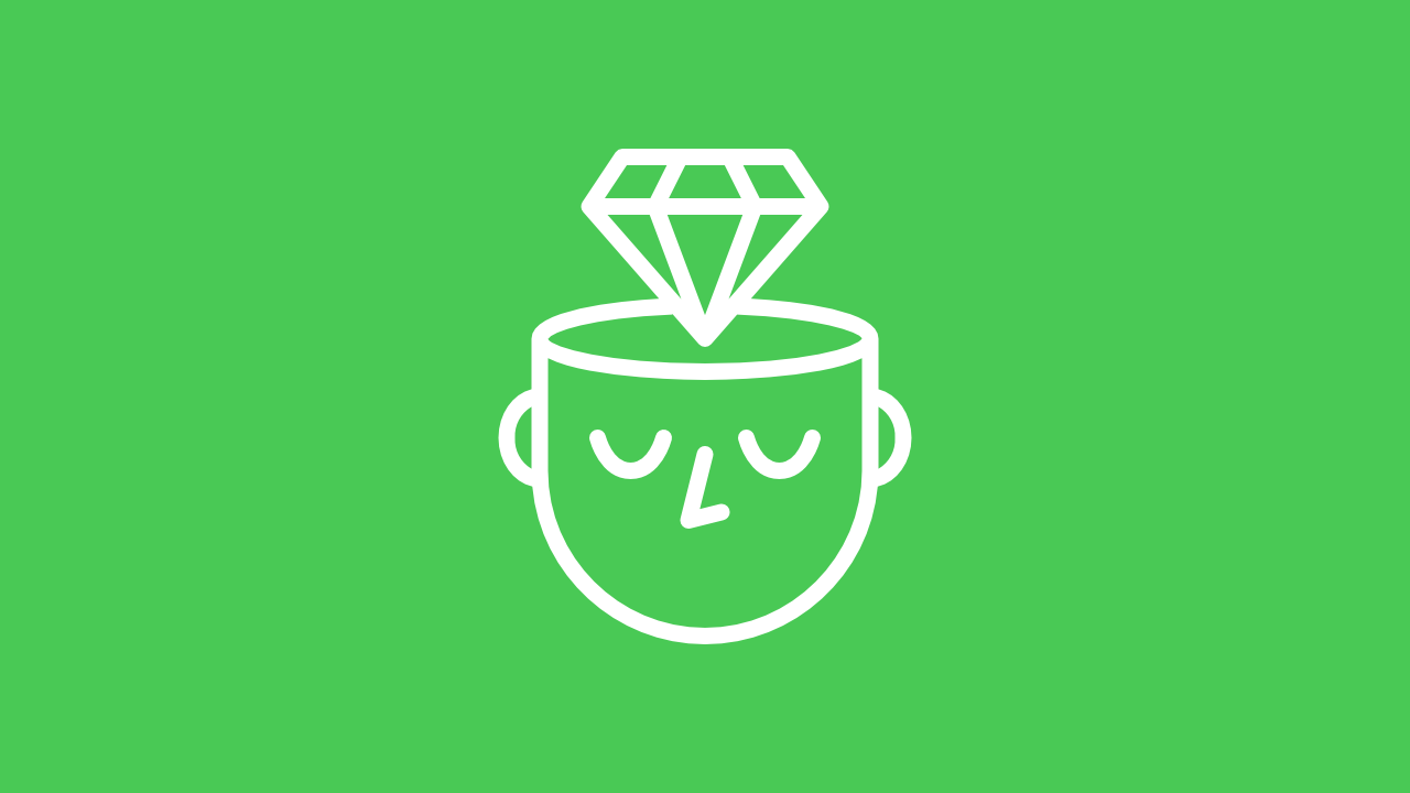 Icon of a gem emerging from a person's thoughts that represents the items categorized as a ideas.