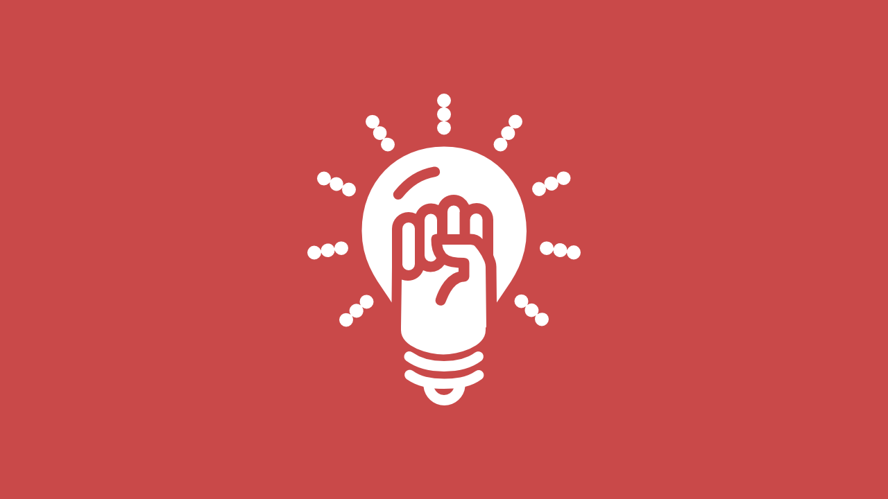 Icon of a hand raised in a fist within a light bulb that represents the items categorized as an inspiration.