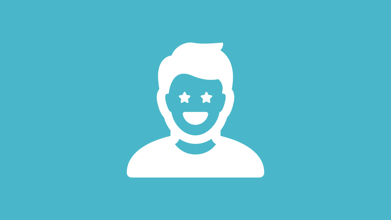 Icon of a person with stars in their eyes that represents the items categorized as a people.