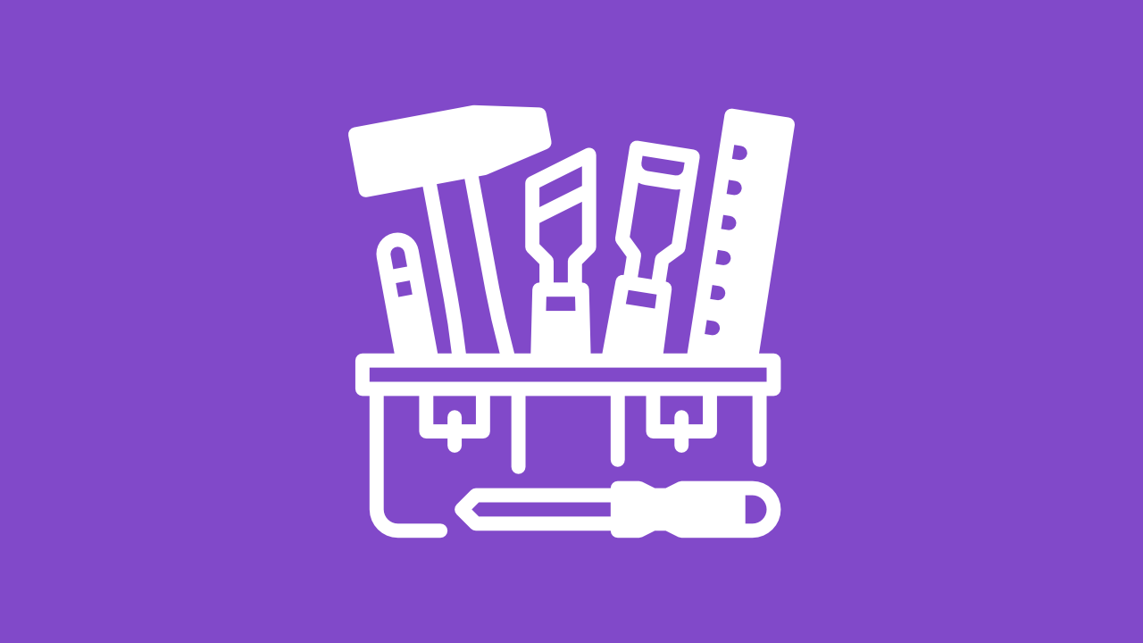 Icon of a carpenter's toolbox that represents the items categorized as a tools.