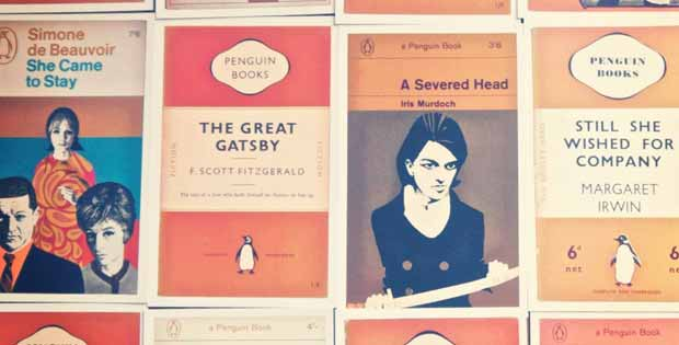 A collage of famous Penguin Book covers.