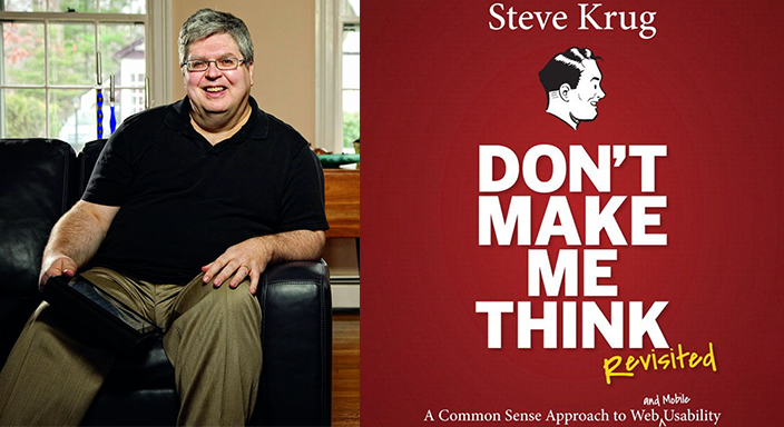 """Photo of Steve Krug and the cover of """"Don't Make Me Think."""""""