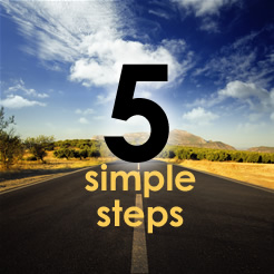 "Photo of a roadway and the text ""5 simple steps."""