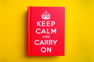 """Photo of a """"Keep Calm and Carry On"""" book. Image Credit: [ rachael ], via Flickr/CC."""