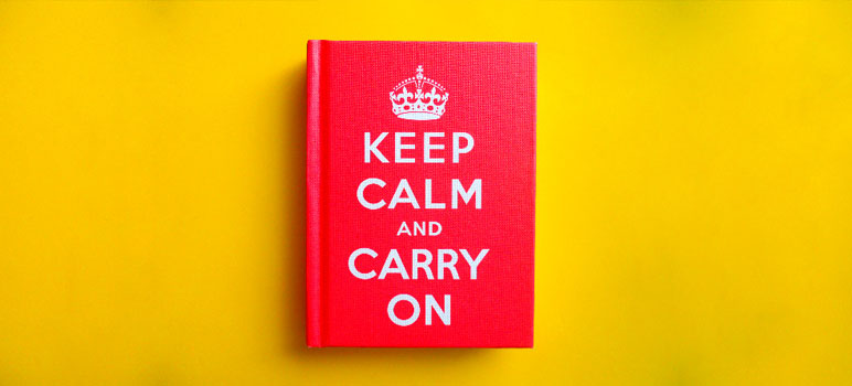 "Photo of a ""Keep Calm and Carry On"" book. Image Credit: [ rachael ], via Flickr/CC."