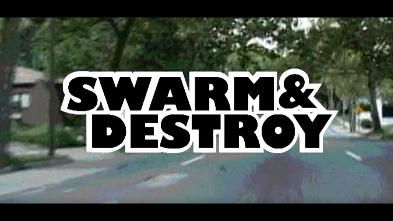 Title slates from Swarm & Destroy: The Moped Army documentary.