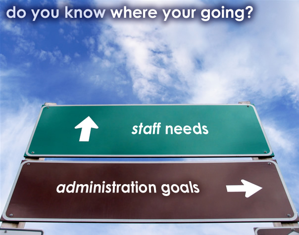 Photo of a roadway sign pointing to staff needs vs. administration goals.