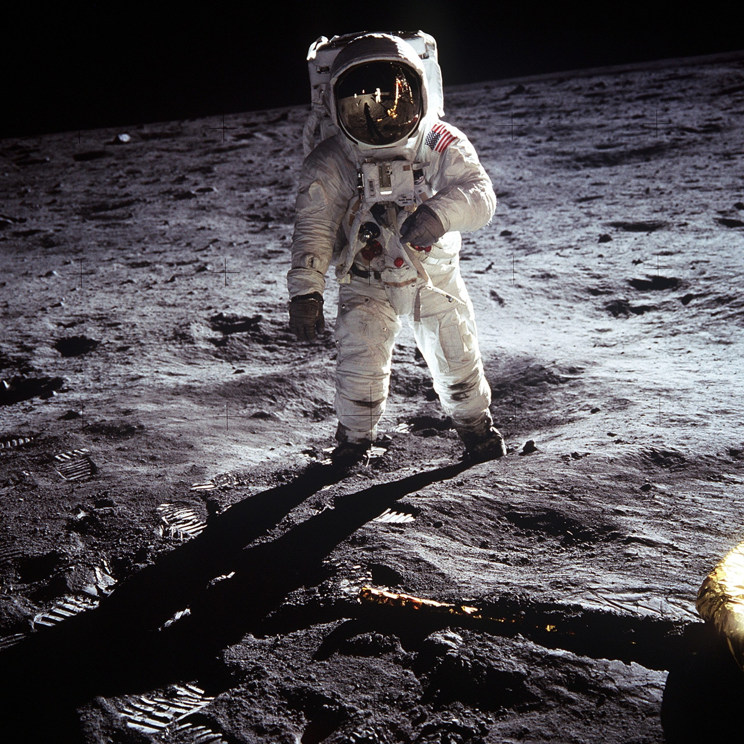 Photo of an astronaut on the moon.